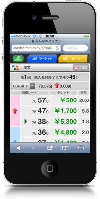 みんなのバイナリーiPhone取引画面